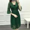 ชุดเดรสลูกไม้ ชุดผ้าลูกไม้สวยๆ สีเขียว แขนสามส่วน คอวี แฟชั่น sexy