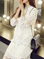 ชุดเดรสลูกไม้ ชุดผ้าลูกไม้สวยๆ สีขาว แฟชั่นเกาหลี แขนสามส่วน เก๋ๆ