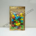 [สินค้าตัวอย่าง/Sample]ถุงซิปล็อคหน้าขุ่น-ทอง หลังเงิน ก้นแบน ขนาด 14x20 cm. 1ใบ