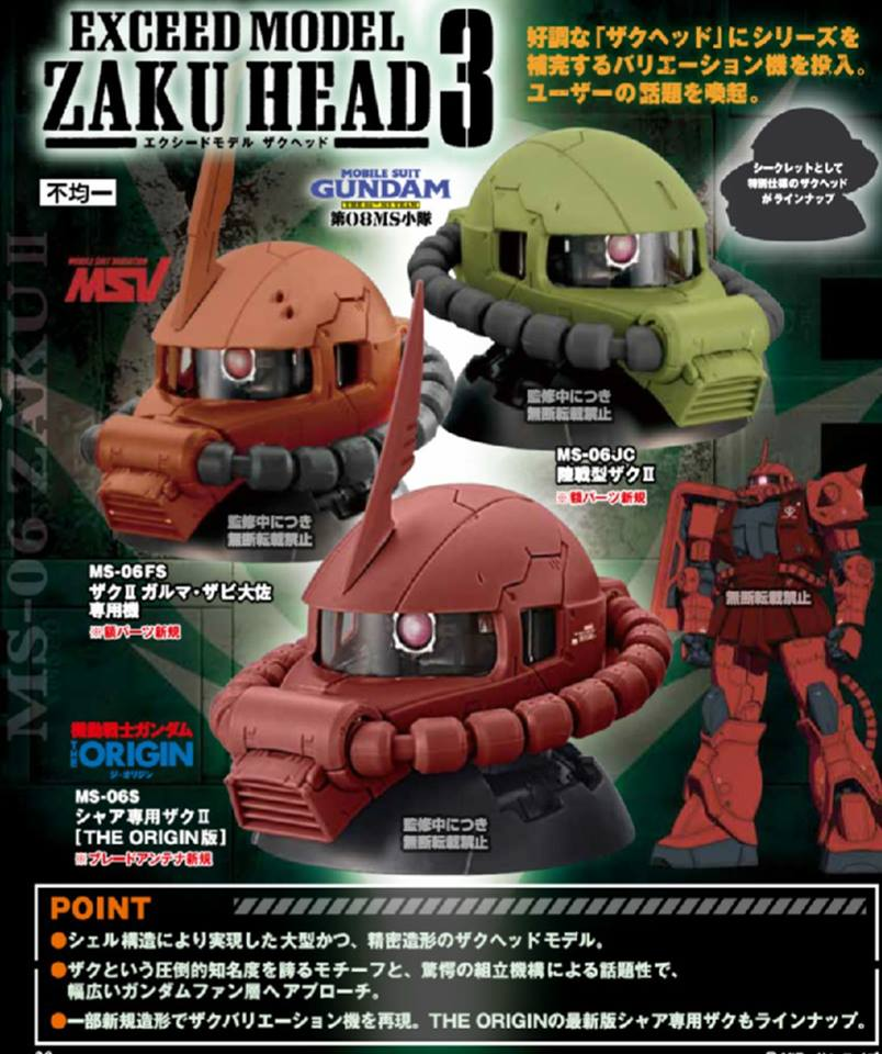 GD EXCEED MODEL ZAKU HEAD 3 (3หัว/set)