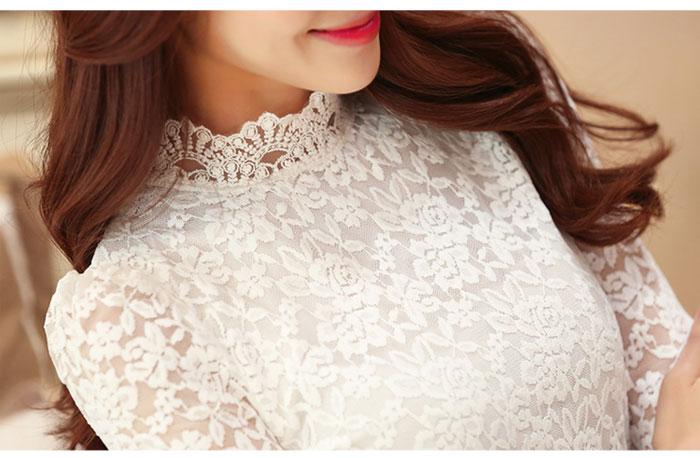 เสื้อลูกไม้สวยๆ แฟชั่นเกาหลี มีสีขาว สีครีมอมเหลือง สีดำ ชุดผ้าลายลูกไม้ ใส่ออกงาน เสื้อลูกไม้ ส่งฟรี EMS ส่งฟรี EMS แขนยาว ดีเทลคอลูกไม้ มีซับใน มีซิปรูดด้านหลัง สวมง่าย แมทซ์ชุดออกงานได้หลายโอกาส