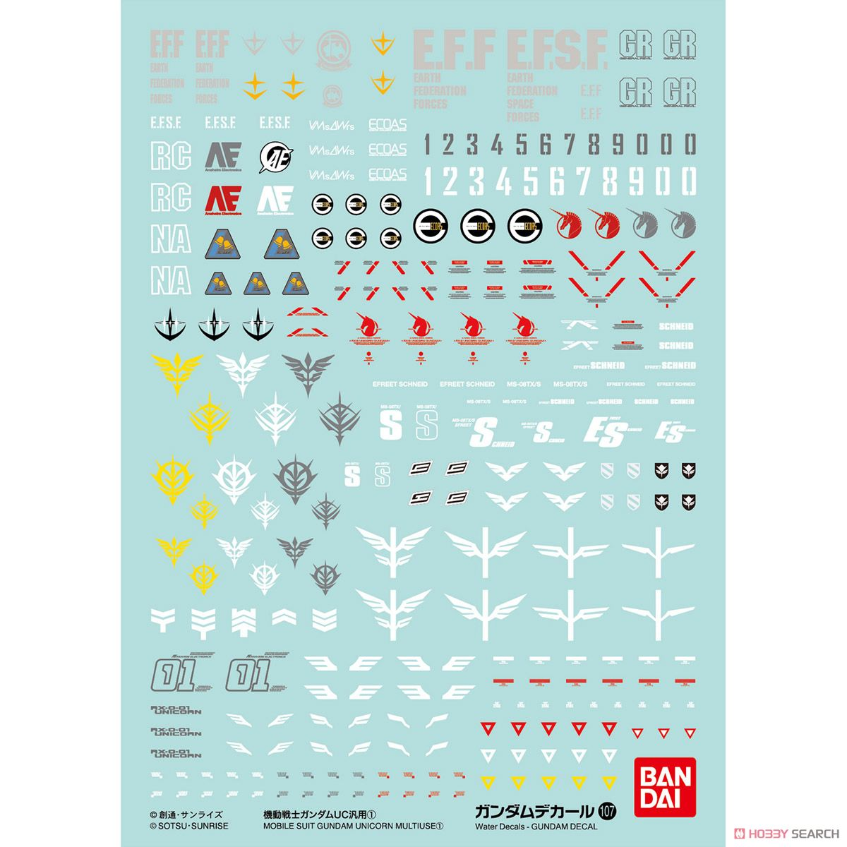 GUNDAM DECAL No.107 MOBILE SUIT GUNDAM UC ①