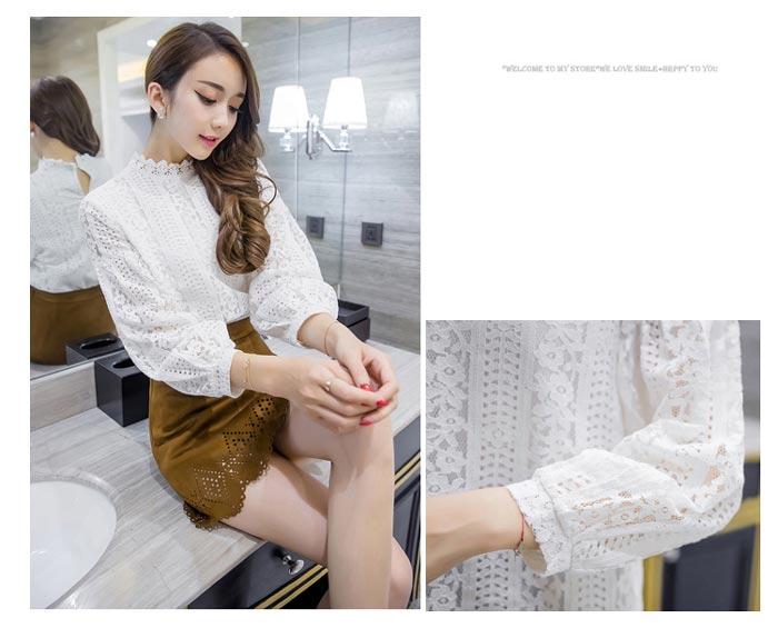 เสื้อลูกไม้สวยๆ แฟชั่นเกาหลี สีขาว แขนยาว เสื้อลายลูกไม้ลายสมัยใหม่ เก๋ๆ