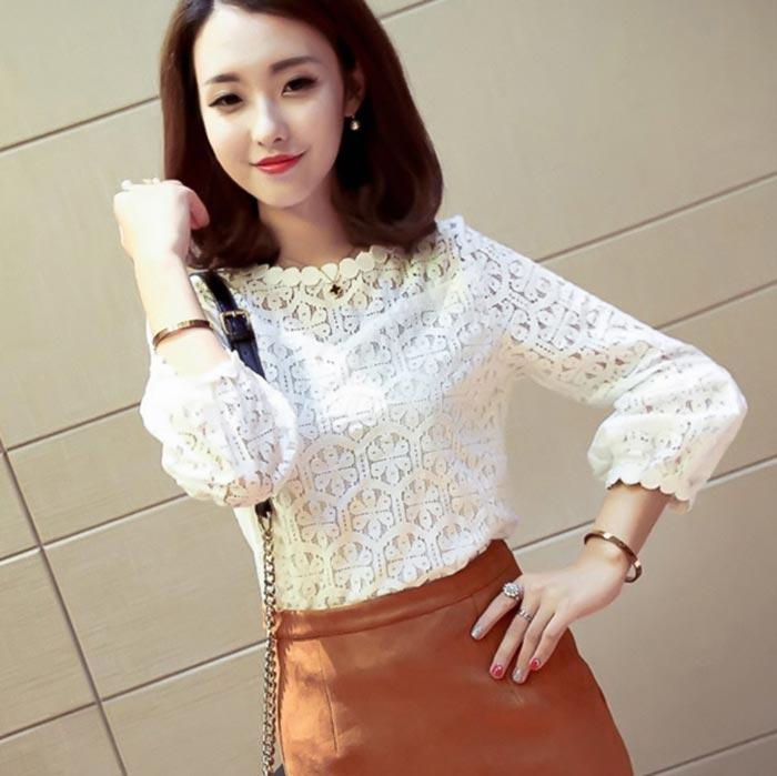 เสื้อลูกไม้สวยๆ แฟชั่นเกาหลี สีขาว แขนยาว เสื้อลายลูกไม้แบบสมัยใหม่ เก๋ๆ