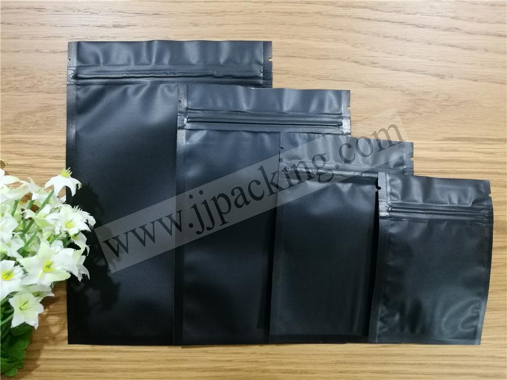 ซองฟอยล์ซิปล็อค สีดำด้าน (Matte Foil Flat Pouch with Zipper - Black)
