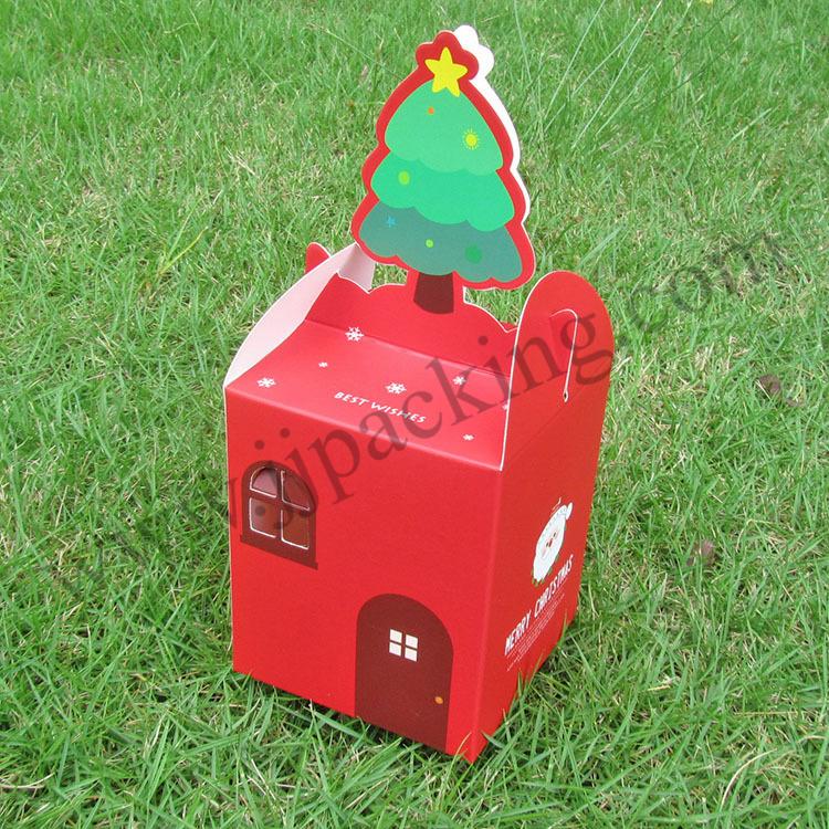 กล่องลายคริสต์มาส สีแดง 1 ใบ