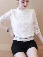 เสื้อลูกไม้สวยๆ แฟชั่นเกาหลี สีขาว เสื้อลายลูกไม้แขนยาว ใส่สบายๆ