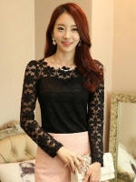 เสื้อลูกไม้สวยๆ แฟชั่นเกาหลี แขนยาว สีดำเซ็กซี่ เสื้อลายลูกไม้ลวดลายดอกไม้