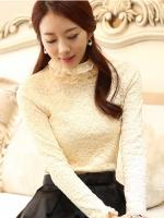 เสื้อลูกไม้สวยๆ แฟชั่นเกาหลี สีครีม แขนยาว เสื้อลายลูกไม้ใส่ออกงาน คอเต่าชั้นๆ