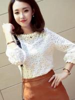 เสื้อลูกไม้สวยๆ แฟชั่นเกาหลี สีขาว แขนยาว เสื้อขาวลายลูกไม้ลายสมัยใหม่ เก๋ๆ