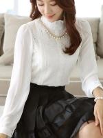 เสื้อลูกไม้สวยๆ แฟชั่นเกาหลี สีขาว แขนยาว เสื้อขาวชีฟองออกงาน เรียบหรู