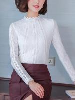 เสื้อลูกไม้สวยๆ แฟชั่นเกาหลี สีขาว แขนยาว เสื้อขาวลายลูกไม้ใส่ออกงาน เรียบหรู