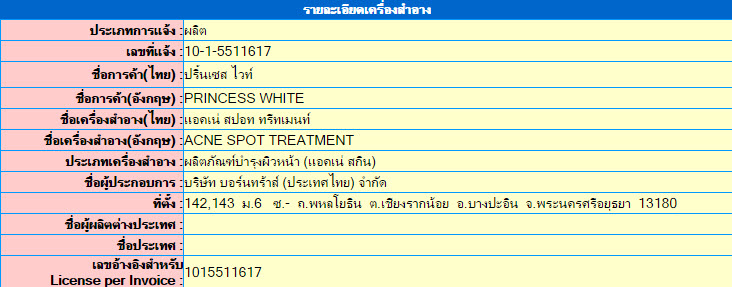 เลขที่จดแจ้ง อย. Acne Spot Treatment