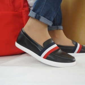 รองเท้าสไตล์เกาหลี Loafer มีแถบคาด Size 35