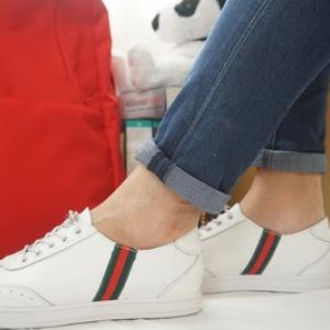 รองเท้าสไตล์เกาหลี ผ้าใบสีขาว มีแถบคาด Size 35